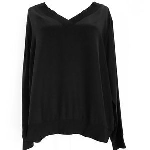 Lafayette 148 New York black matte 100% silk top
